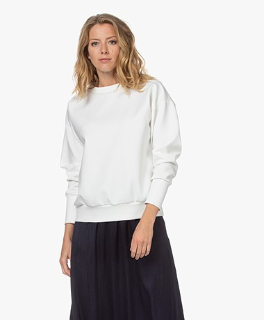LaSalle Scuba Jersey Mock Neck Sweater - Natural