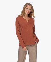 Repeat Split Neck Cotton Blend Sweater - Paprika