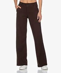 KYRA Delphine Getextureerde Jersey Pantalon - Coffee Bean
