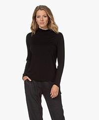 Denham Louisa Viscose Jersey Turtleneck T-shirt - Black