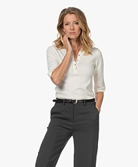 Resort Finest Viva Cashmere Blend Sweater with Half-length Sleeves - Ecru