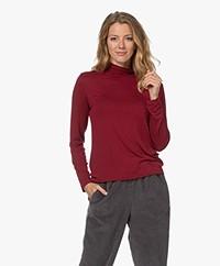 Denham Louisa Viscose Jersey Turtleneck T-shirt - Rhubarb Red