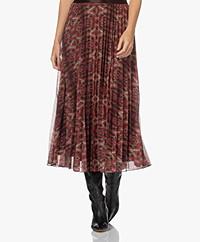 KYRA Pascale Long Plisse Ikat Print Skirt - Warm Orange