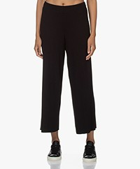 Vince Rib Knitted Loose-fit Cropped Pants - Black