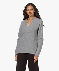Repeat Wool and Cashmere V-neck Sweater - Light Grey