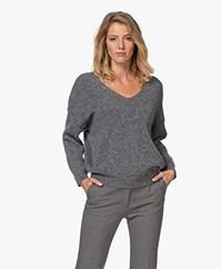 by-bar Sofie Wool Blend V-neck Pullover - Dark Grey Melange