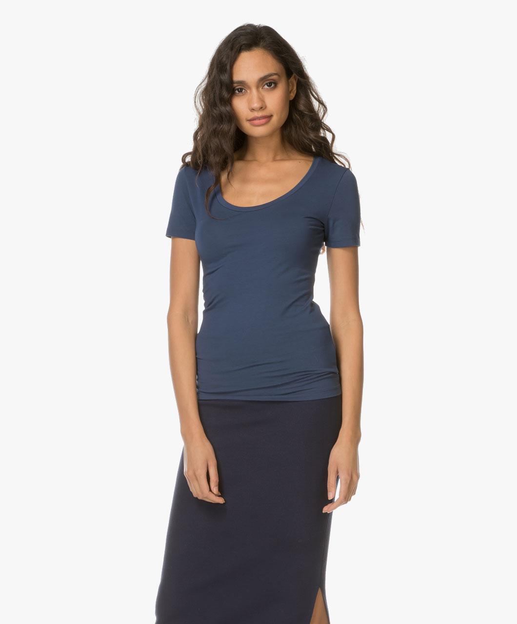 drykorn natina scoopneck t shirt dark blue natina 507100 32 dark. Black Bedroom Furniture Sets. Home Design Ideas