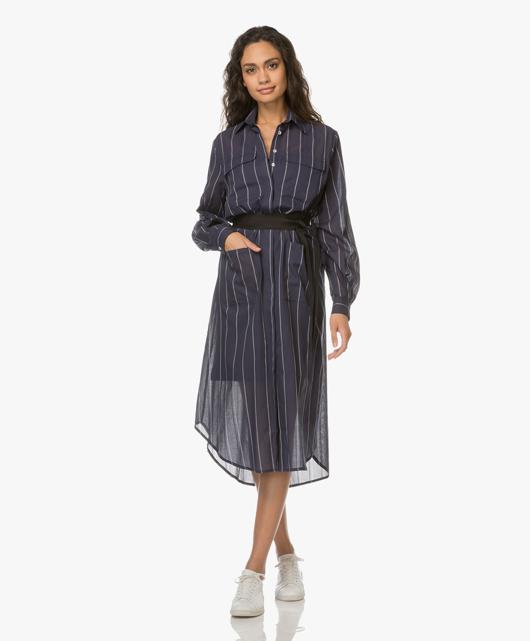 Super Matin Studio Long Cotton Shirt Dress - Navy Stripe - long shirt GJ-98
