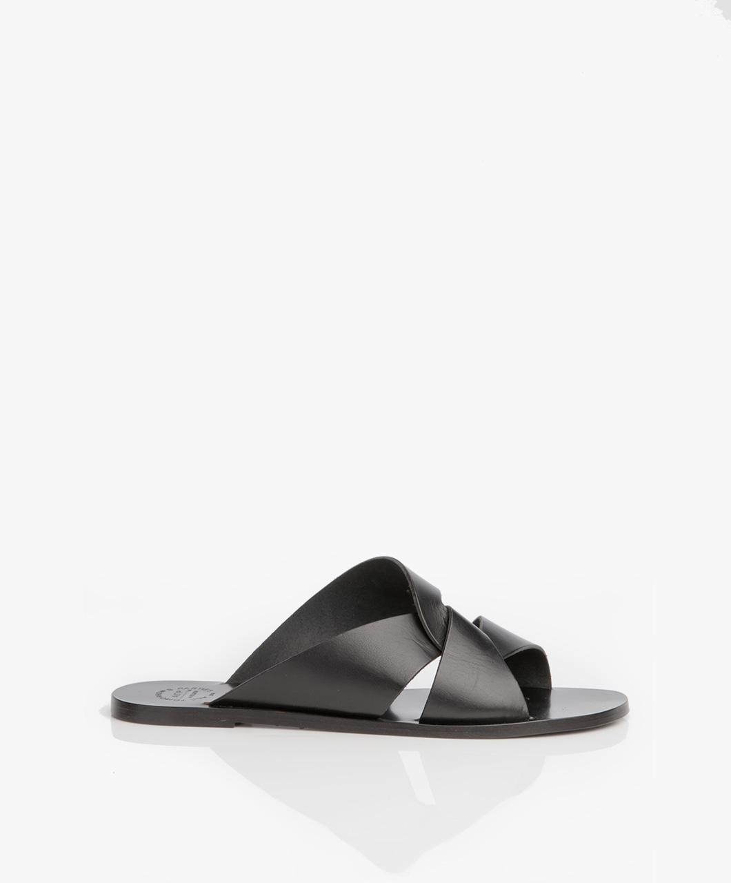 Immagine di ATP Atelier Slipper Sandals Allai in Black Leather