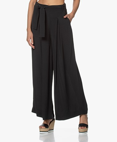 by-bar Wanda Viscose Crepe Wide Leg Pants - Jet Black