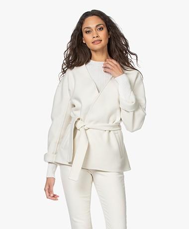 Closed Amelie Short Virgin Wool Blend Jacket - Ivory
