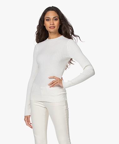 Anine Bing Cecilia Rib Knitted Long Sleeve - Ivory
