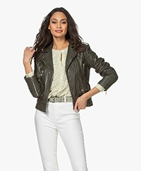 Zadig & Voltaire Lenni Lamb Leather Biker Jacket - Khaki