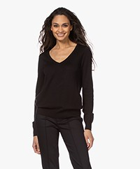 Repeat Organic Cotton Blend V-neck Sweater - Black