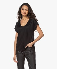 Closed Lyocell Mix U-hals T-shirt - Zwart