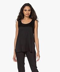 Repeat Sleeveless Stretch Silk Top - Black