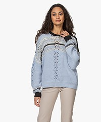 IRO Peryne Tube Yarn Sweater - Blue/White/Black