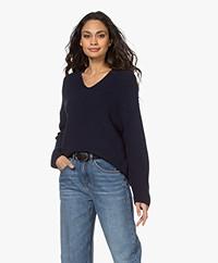 Drykorn Merina Fisherman's V-neck Sweater - Dark Blue