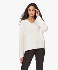 Drykorn Merina Fisherman's V-neck Sweater - Ecru