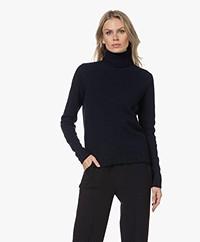 Belluna Claire Wool-Cashmere Blend Turtleneck Sweater - Navy