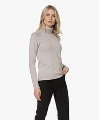 Belluna Hunt Wool-Cashmere Blend Turtleneck Sweater - Ash/Beige
