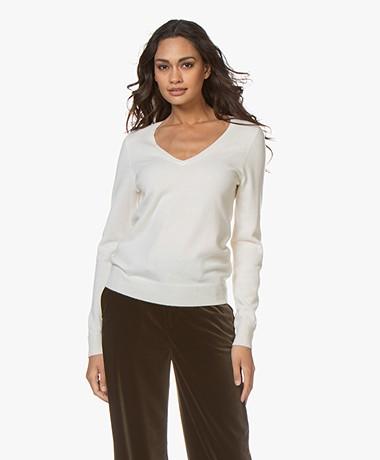 Repeat Cashmere V-hals Pullover - Crème