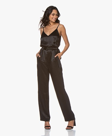 Rag & Bone Rochelle Crepe Satin Jumpsuit - Black