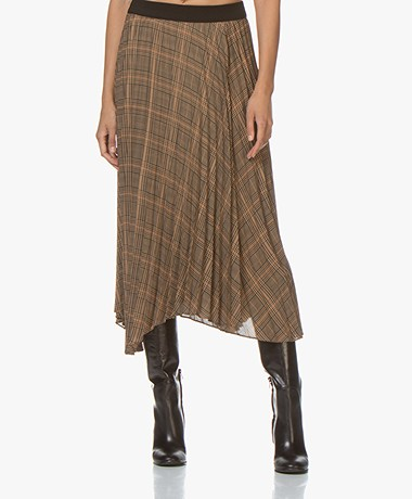 By Malene Birger Balsas Checked Plisse Skirt - Tiger Eye