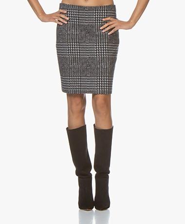 Josephine & Co Augustus Jacquard Jersey Skirt - Navy Check