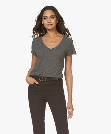 American Vintage Jacksonville V-hals T-shirt - Charcoal Melange