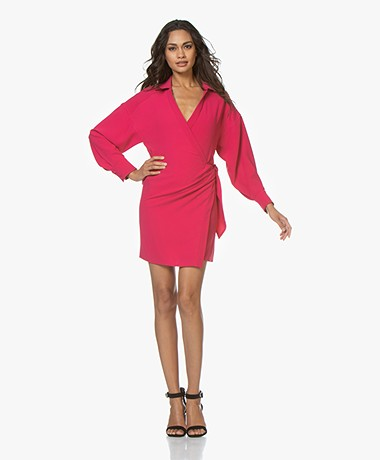 IRO Musea Crepe Wrap Dress - Fuchsia