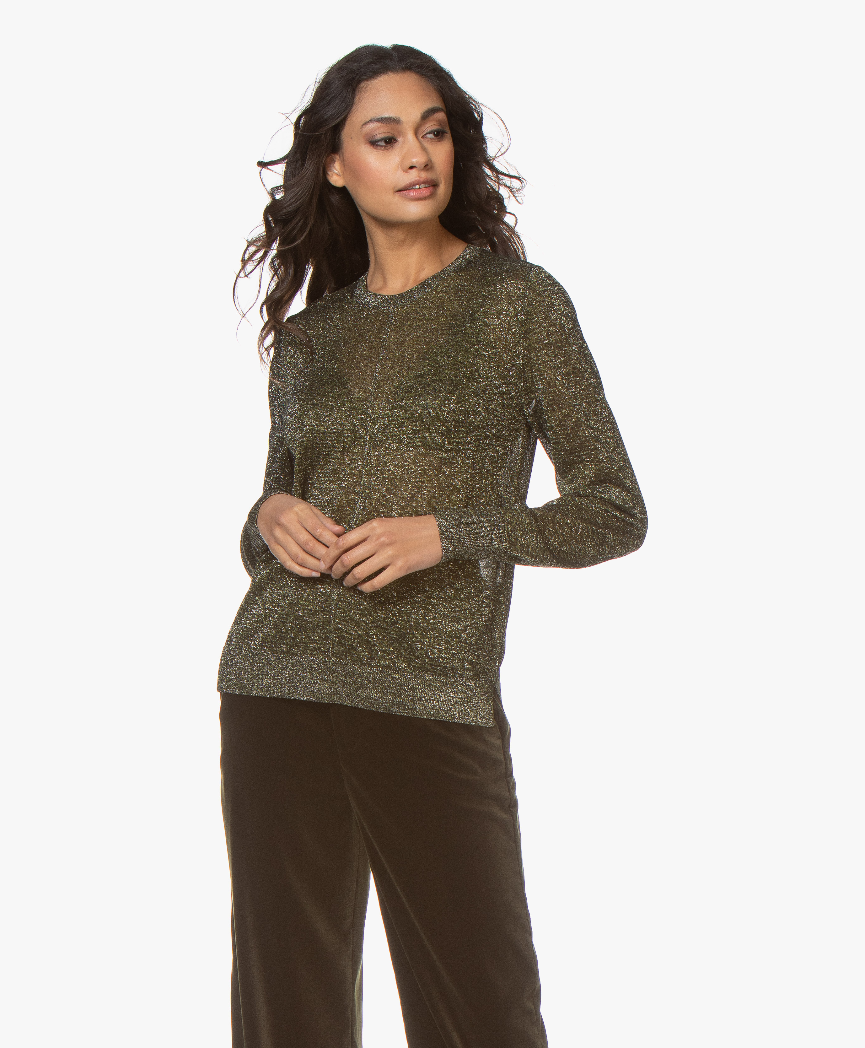 New Women Forest Green Chunky Knit long sleeve Round neck Short Jumper Size S-XL