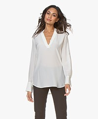 Equipment Charlina Silk V-neck Blouse - Nature White