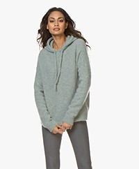 no man's land Mohair Blend Knitted Hooded Sweater - Sea Breeze