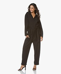 Closed Loose-fit Viscosemix Jumpsuit - Zwart