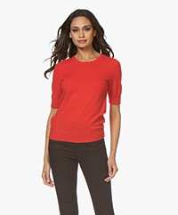 Repeat Short Sleeve Cashmere Pullover - Red