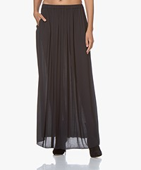 by-bar Linde Viscose Twill Maxi Rok - Midnight