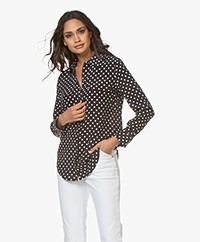 Equipment Slim Signature Polkadot Silk Blouse - Eclipse/Bright White