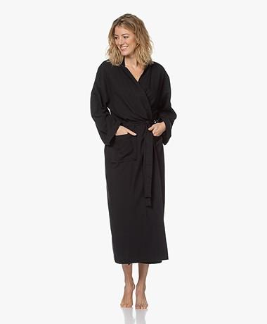 HAMMAM34 The Pheasant Long Cotton Kimono - Black