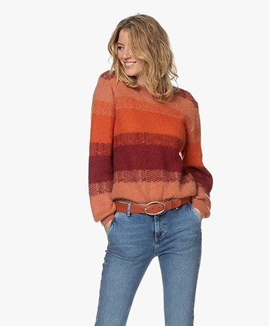by-bar Baccio Multicolored Alpaca and Mohair Blend Pullover - Wine