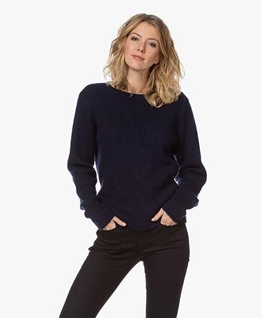 by-bar Sofie Wool Blend Round Neck Pullover - Midnight