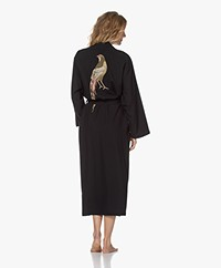 HAMMAM34 The Pheasant Long Cotton Kimono - Black