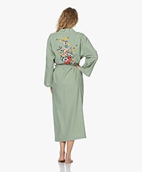 HAMMAM34 The Flower Long Cotton Kimono - Sea Green