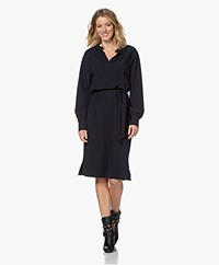 JapanTKY Kary Travel Jersey Dress with Ruffles - Blue Black