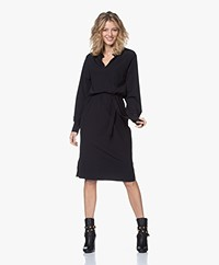 JapanTKY Kary Travel Jersey Dress with Ruffles - Deep Black