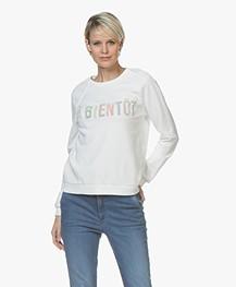 BY-BAR Jaimy Flockprint Sweater - Off-white