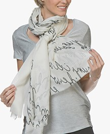 LaSalle Modal Blend Scarf with Print - Off-white Letter