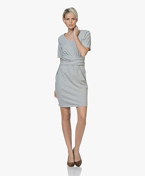HUGO Nieke French Terry Belted Dress - Silver