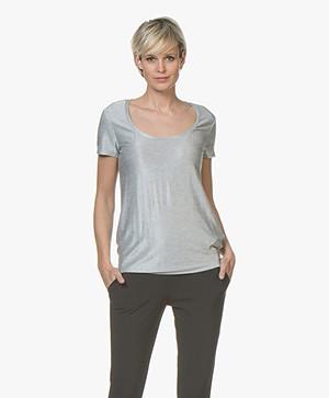 HUGO Dimilla Viscose Rib T-shirt - Zilver