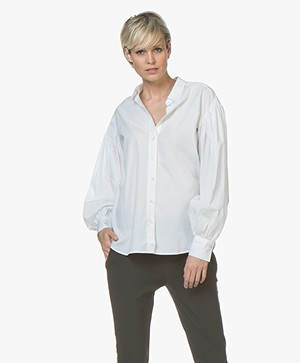 Closed Jenna Cotton Poplin Blouse with Puffed Sleeves - White